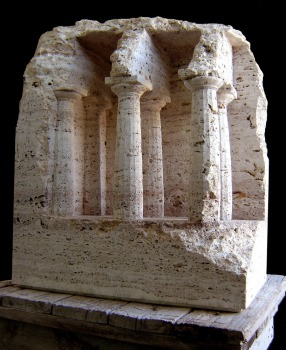 """Space with Doric Columns"" - 2005, Travertine stone, height 64 cm"