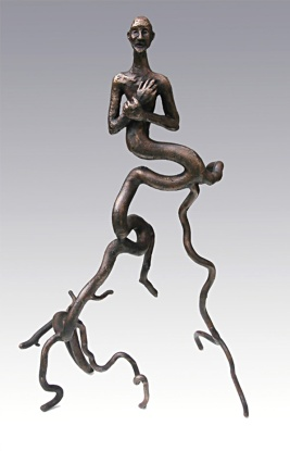 Krøllet rodmand. Bronze ca. 50x30x30 cm